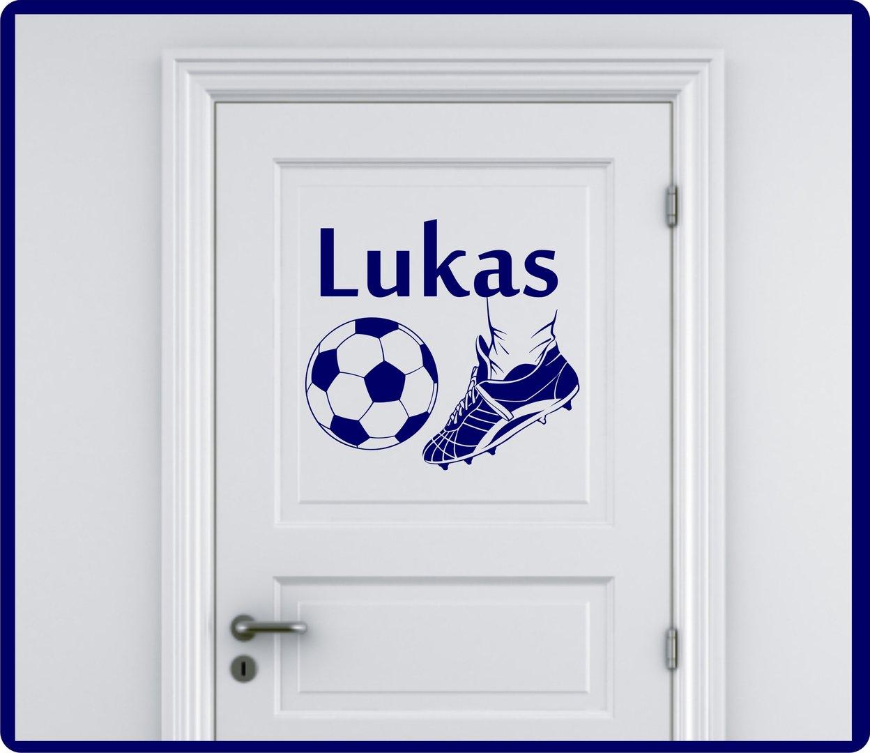 Brilliant Wandtattoo Fußball Foto Von Fussball Mit Name- Farbwahl