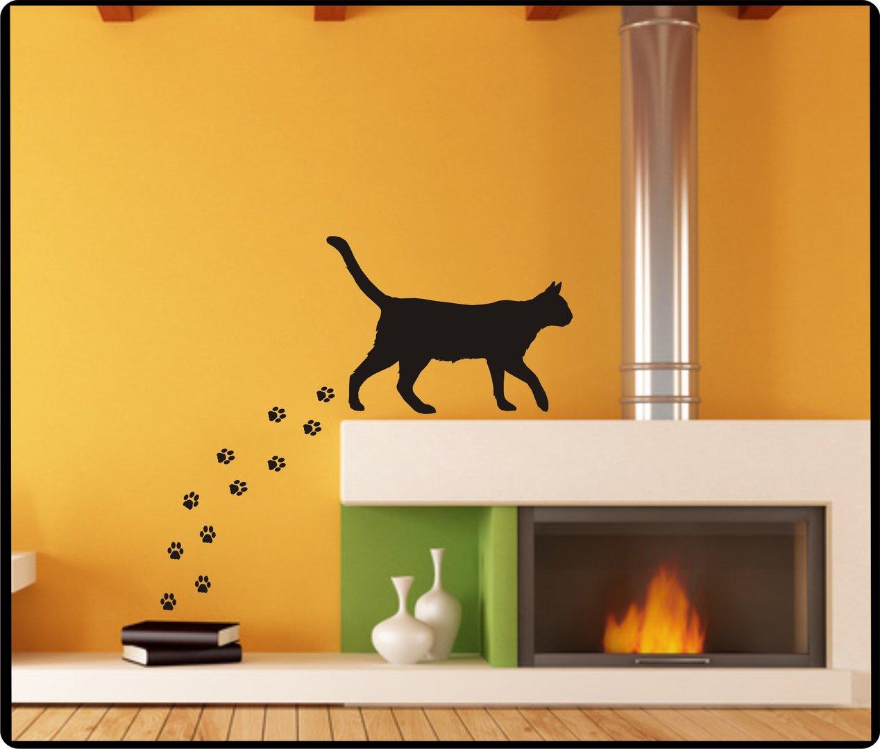 Schön Wandtattoo Katzen Dekoration Von Katze Mit Pfoten- Farb- Und Größenwahl