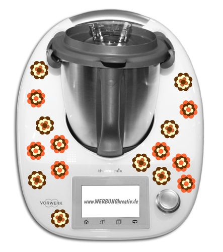 Thermomixaufkleber 16 Blumen braun/orange a 3cm